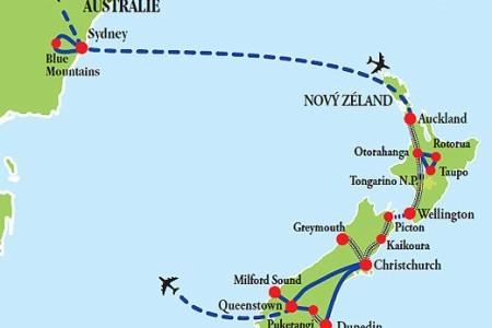 Dovolenka  - Austrália - Austrálie - Nový Zéland vlakem