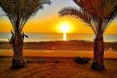 pohled znašeho bungalovu na východ slunce