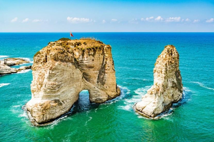 Holubia skala v Raouche, Libanon