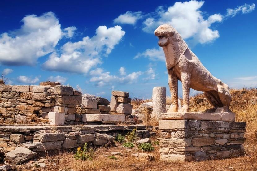 Levie terasy na ostrove Délos, Grécko