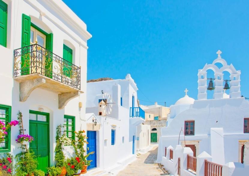 Tradičné domy v meste Chora, Amorgos, Grécko