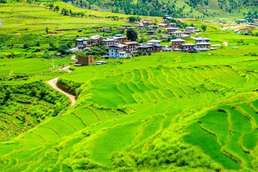Tradičná bhutánska dedinka