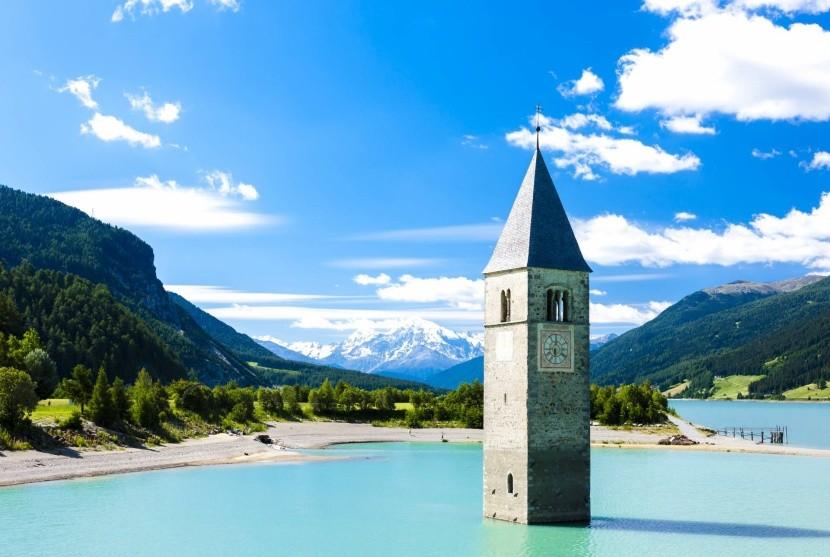 Lago di Resia a potopený kostol