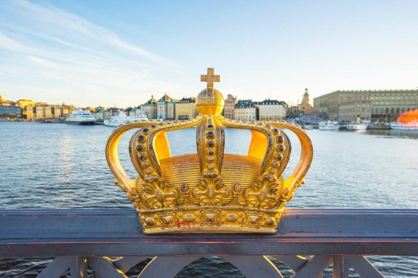 Zlatá koruna na moste Skeppsholmssbron