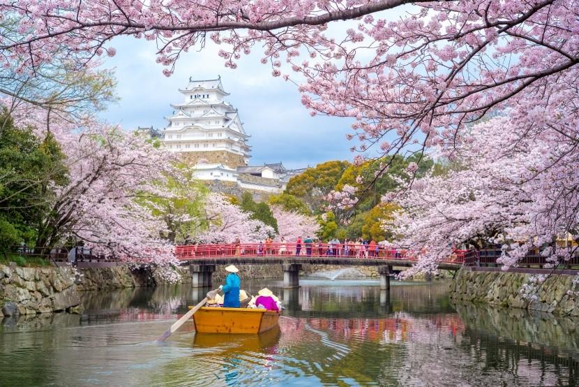 Vodná priekopa okolo hradu Himedži