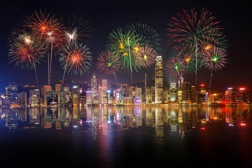 Ohňostroj nad Hongkongom