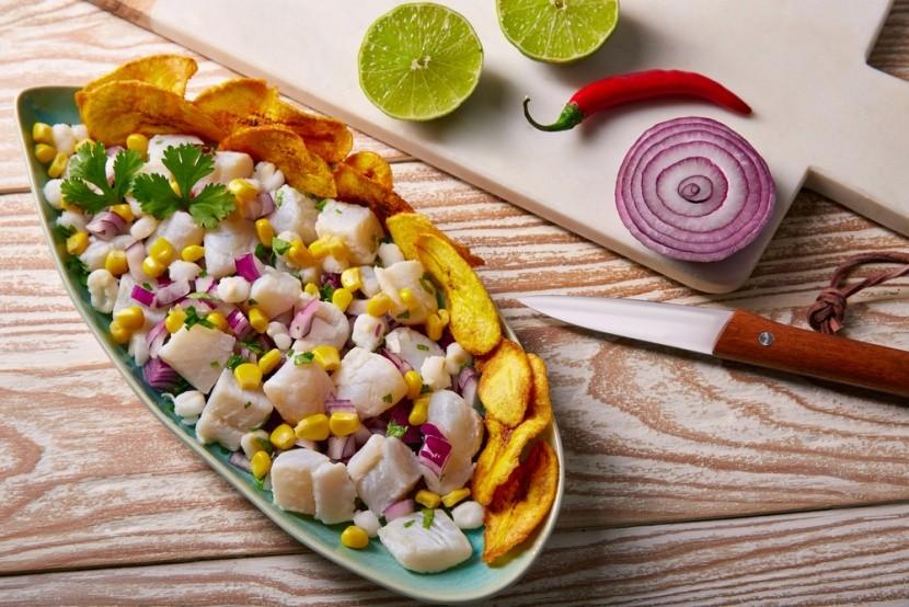 Ceviche a vyprážané banány z Peru
