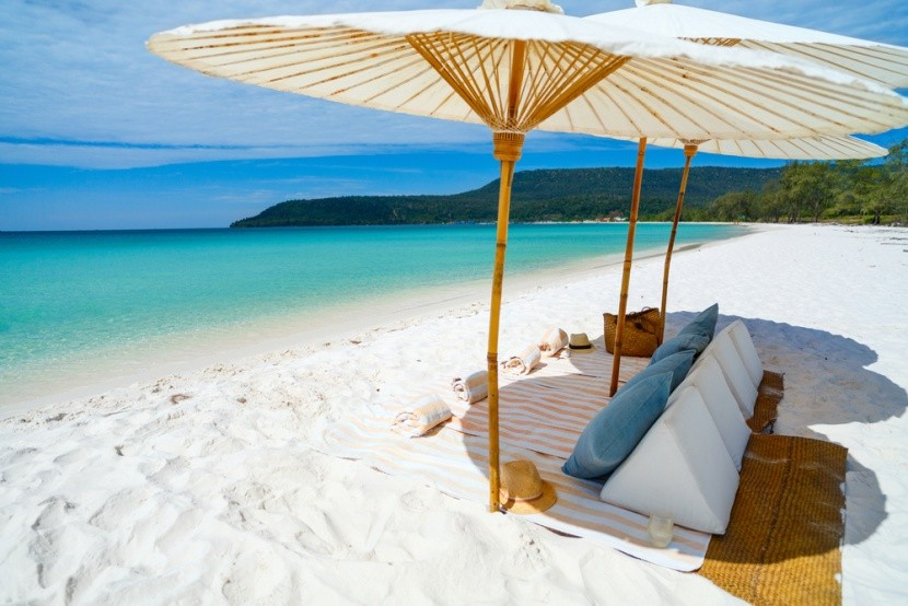 Belostná pláž v Koh Rong, Kambodža